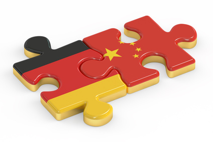China and Germany puzzles from flags, relation concept
